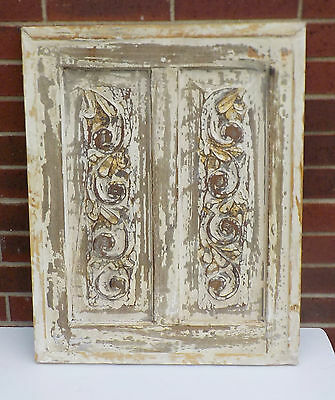 "SPANISH COLONIAL ANTIQUE WOODEN DOOR PANEL ENGRAVED OLD MEXICO 27"" x 21 7/8"" ff"