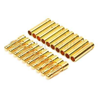 20pcs 4mm Gold-plated Bullet Banana Connector Plug Male Female for RC Battery