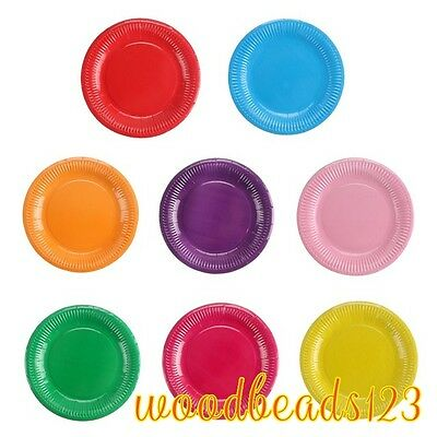"""10 pcs Round 7"""" Paper Plates Disposable Wedding Party Tableware Birthday 10color"""