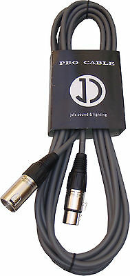 3m DMX Cable 3pin male to 3pin female - 110ohm - Grey colour