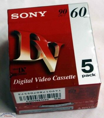 Sony mini DV Tape, 5 pack, Never Used. 5DVM60R3 5DVM60R3/CLN