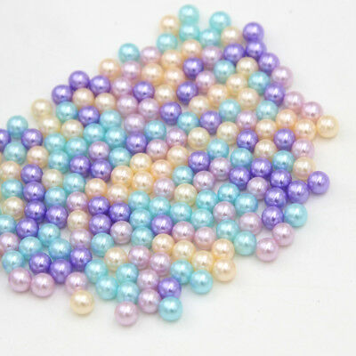 200 Pcs 5/7mm Mixed Colour No Hole Round Faux Pearl Beads Strands DIY Beads NEW