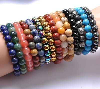 New Fashion 8MM Natural Gemstone Round Beads Stretchy Bracelets