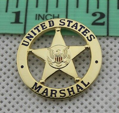 United States US Marshal Tie Pin Badge Golden