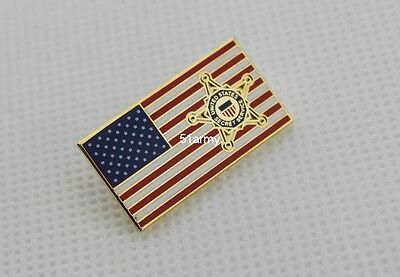 US Secret Service Star on US Flag Tie Pin Badge USSS PIN
