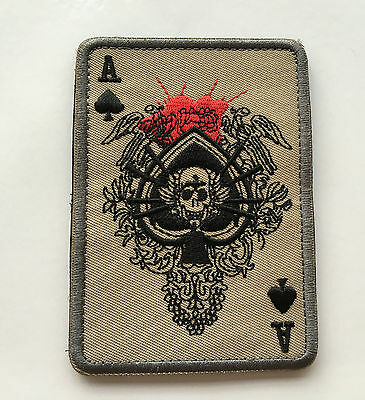 Ace Of Spades Death Skull Card Usa Army Tactical Morale  Patch