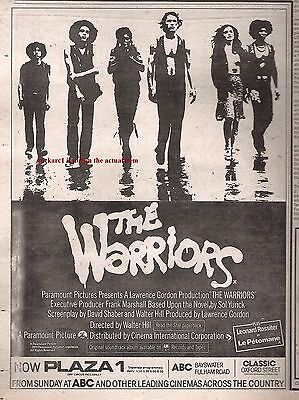 The WARRIORS movie 1979 UK Press ADVERT 10x8 inches