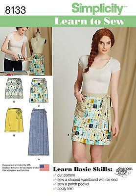 Simplicity Sewing Pattern Learn To Sew Misses' Wrap Skirt 2 Lengths 6 - 18 8133