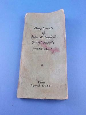 Farmers Pocket Notebook John N. Corbett Gravel Supply Mount Elgin Ontario Canada