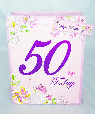 Ladies 50th Birthday Small Gift Bag Flowers 50 Today Happy Birthday Pink Bag