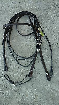 Dark oil leather Western horse browband bridle w/silver rosettes, buckles