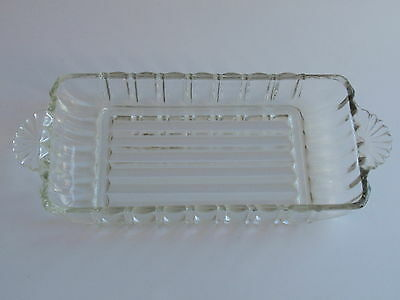Vintage Clear Glass Ribbed Rectangular Relish Pickle Dish Fan Handles Retro 40s
