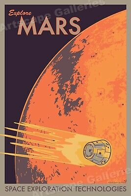 Assembly Required Retro Style Classic Mars Exploration NASA Travel Poster 16x24