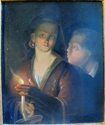 Original Antique Dutch Oil Painting  JAN GROOTVELT  Lady with a Candle  c. 1840
