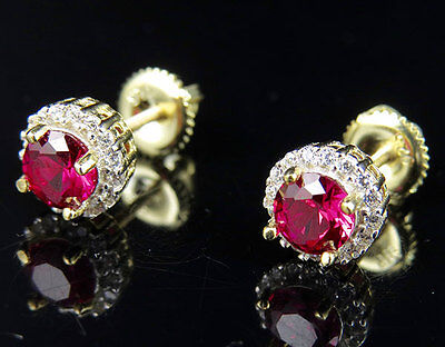 Yellow Gold Finish Halo Royal Ruby Gemstone Solitaire Simulated Diamond Earring