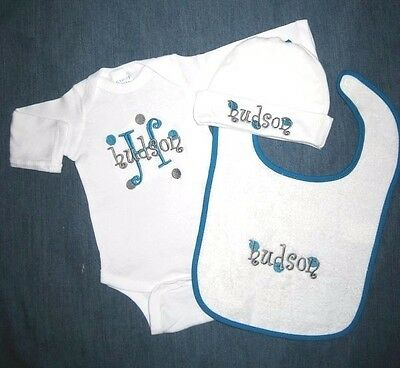 Personalized Monogram Baby HAT BIB CREEPER One Piece Romper T Shirt SET Outfit