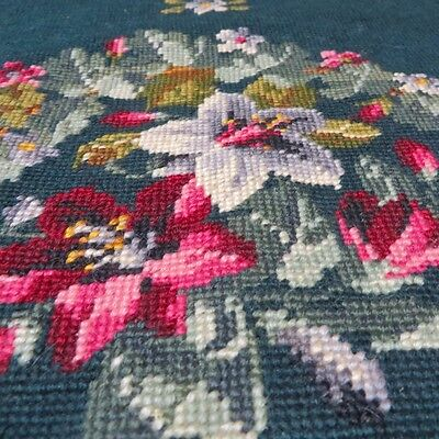 New Unused Vintage Floral Handmade Wool Needlepoint for Chair or Cushion