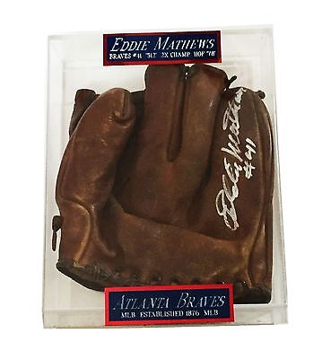 Mlb Eddie Matthews Hand Signed Autographed Baseball Glove Very Rare With Coa