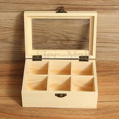 6 Compartments Wooden Tea Bag Jewelry Organizer Chest Storage Box Glass Top  Log