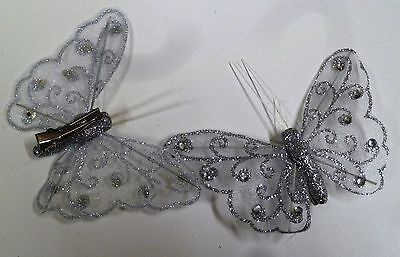 12x Silver Butterfly Clips - Mesh, Glitter, Wire and Diamantes