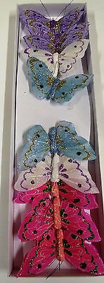 12 x  Feather Butterflies on Wire -  Mauve, White, Blue and Hot Pink (Code 21 )