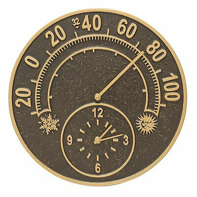 Whitehall Solstice Thermometer-Clock ANTIQUE COPPER Ships Quickly Indoor-Outdoor