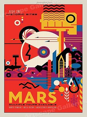 Retro Style Space Exploration Poster - Visit Historic Sites on Mars - 18x24