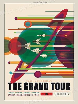 Retro Style NASA Space Travel Poster - Grand Tour of the Solar System - 24x32