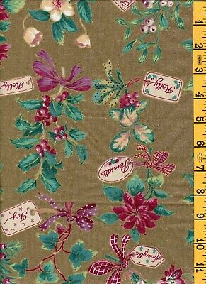 "2yd 8""  Cotton Quilt Sew Fabric Holiday Concord Gifts of Holly on Gold Metallic"