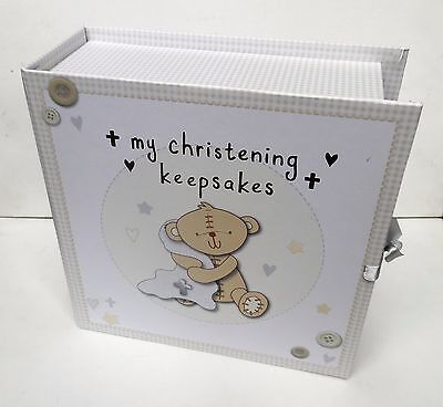 CHRISTENING GIFT-DE-LUXE UNISEX KEEPSAKE BOX with 9 DRAWERS in a GIFT BOX-NEW