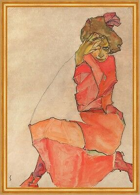 Kneeling Female in Orange-Red Dress Egon Schiele Frauen Kleider Mode B A2 01624