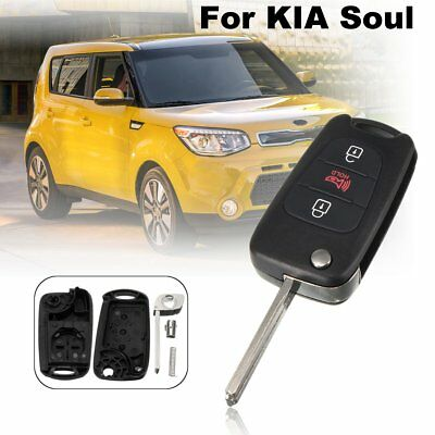 3 Buttons Remote Flip Entry Key Fob Case Shell w/ Uncut Blank Blade For KIA Soul