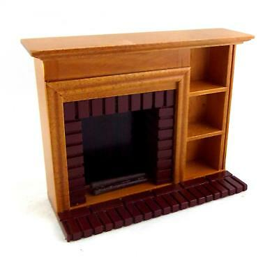 Dolls House Miniature Furniture Walnut Red Brick Fireplace with Shelves
