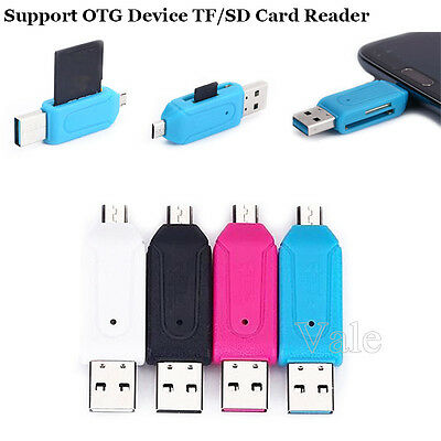 2 in 1 OTG Micro USB+USB 2.0 SD/TF Memory Card Reader Adapter For Smart Phone PC