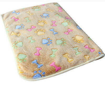 Pet Mat Small Large Paw Print Cat Dog Puppy Fleece Soft Blanket Bed Cushion D us
