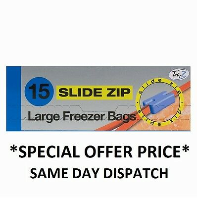 15 Large Slide Zip Fridge Freezer Bags Food Strong Resealable 23cm x 25cm