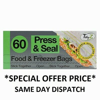 60 Press & Seal Food & Freezer Bags Sandwich Fridge Food Strong 19cm x 21.5cm