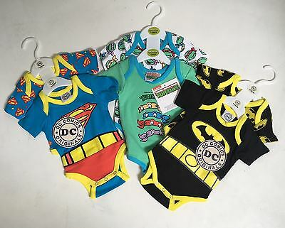 Dc Comics 2 Pack Baby Character Vests :superman/turtles/batman