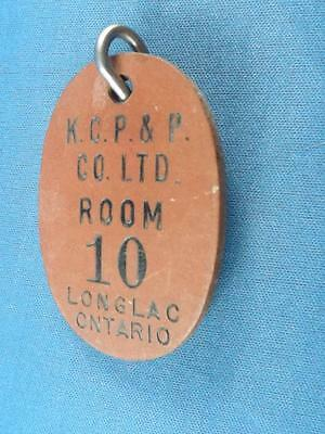 KIMBERLY CLARK PULP& PAPER LONGLAC ONT HOUSE ROOM KEY RING KEYCHAIN FOB motel