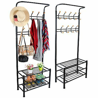 Black Metal 18 Hook Hat and Coat Stand Clothes Shoe Rack Hanger Hooks Shelf New