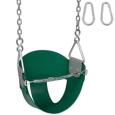 Swing Set Stuff Highback 1/2 Bucket Swing Seat Green With Chains And Hooks 0046