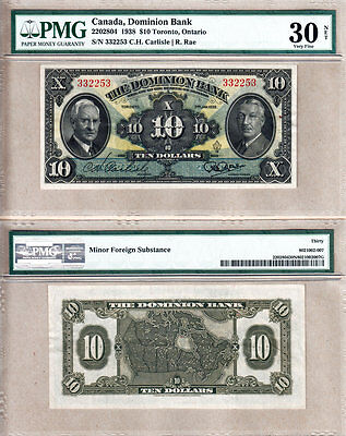 1938 $10 The Dominion Bank Rainbow Note (Now TD Can Trust). PMG VF30 (VF/EF)
