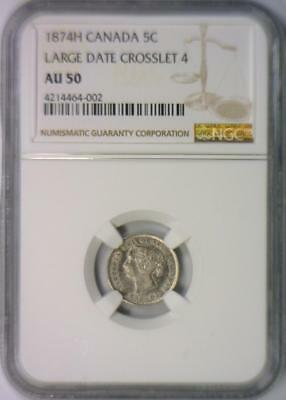 1874-H Canada 5 Cent Silver; Large Date Crosslet 4; NGC AU-50