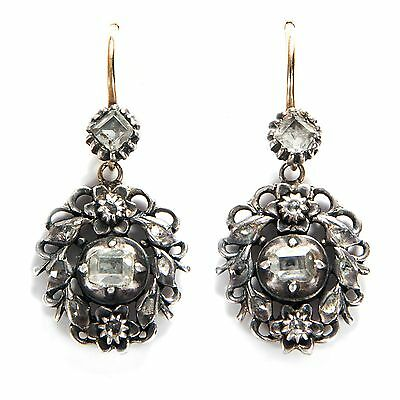 Um 1780: Diamant Ohrhänger in Silber & Gold Ohrringe / Georgian Diamond Earrings