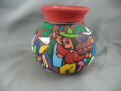 Vintage Mexican Mexico Folk Art Pottery Vase Vivid Painting People Goat Bird
