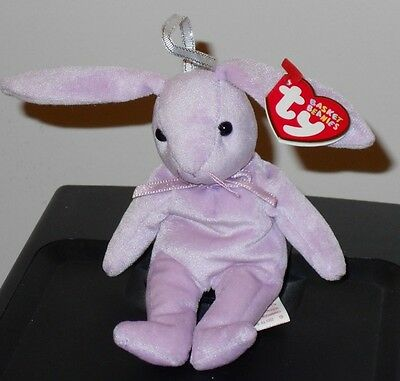 "Ty Basket Beanie Baby ~ FLOPPITY the 5"" Purple Bunny Rabbit ~MINT with MINT TAGS"