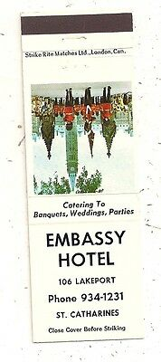 Embassy Hotel 106 Lakeport St. Catharines ON Ontario Matchcover 070516