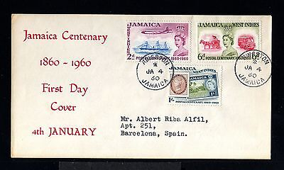 11566-JAMAICA-FIRST DAY COVER KINGSTON to BARCELONA (spain)1960.BRITISH
