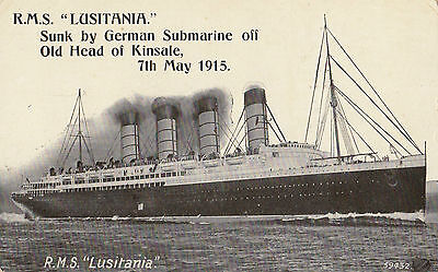 Postcard ship R.M.S Lusitania sunk by German submarine off Old Head of Kinsale