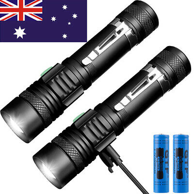 2pcs 10000lm Shadowhawk CREE T6 LED Flashlight USB Rechargeable Torch 2x Battery